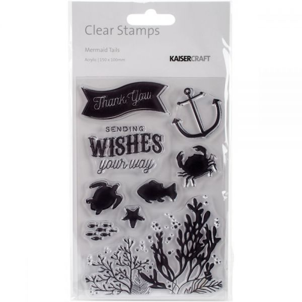 "Mermaid Tails Clear Stamps 6""X4"""