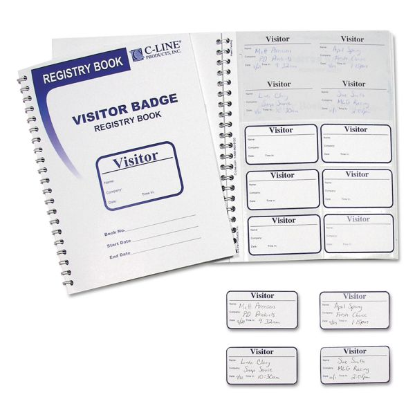 C-Line Visitor Self-Adhesive Name Badges with Registry Log