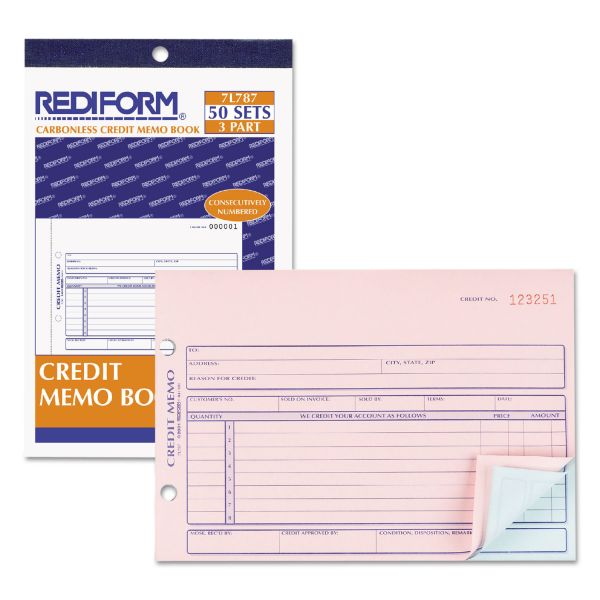 Rediform Credit Memo Book, 5 1/2 x 7 7/8, Carbonless Triplicate, 50 Sets/Book