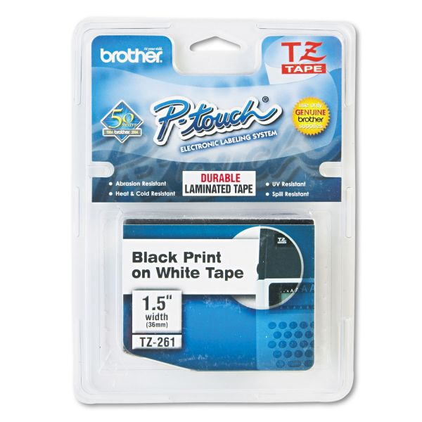 "Brother P-Touch TZe Standard Adhesive Laminated Labeling Tape, 1 1/2""w, Black on White"