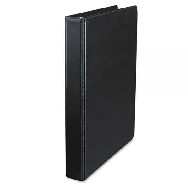 "Universal Deluxe 3-Ring View Binder, 1"" Capacity, Round Ring, Black"