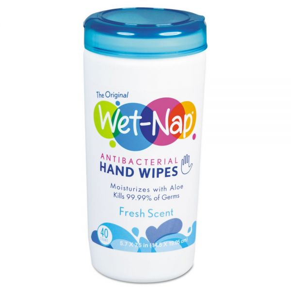 Wet-Nap Antibacterial Hand Wipes, 5 3/4 x 7 3/5, White, Fresh Scent, 40/Canister, 6/Ctn