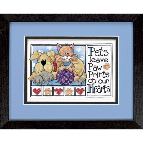 Paw Prints Mini Stamped Cross Stitch Kit