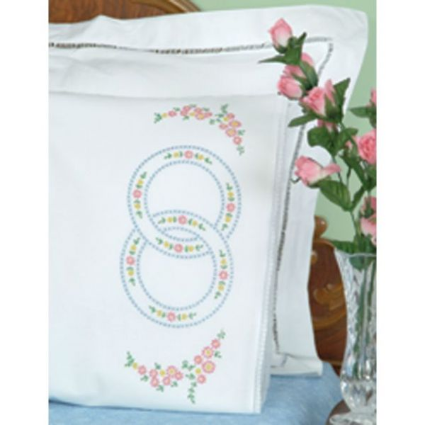 Stamped Pillowcases With White Lace Edge