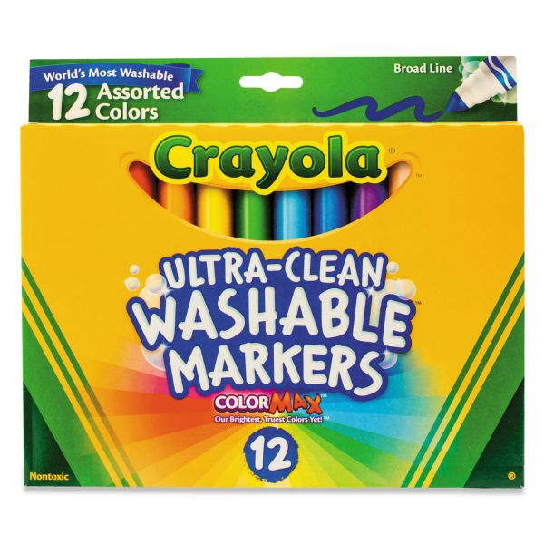 Crayola Washable Markers, Broad Point, Classic Colors, 12/Set