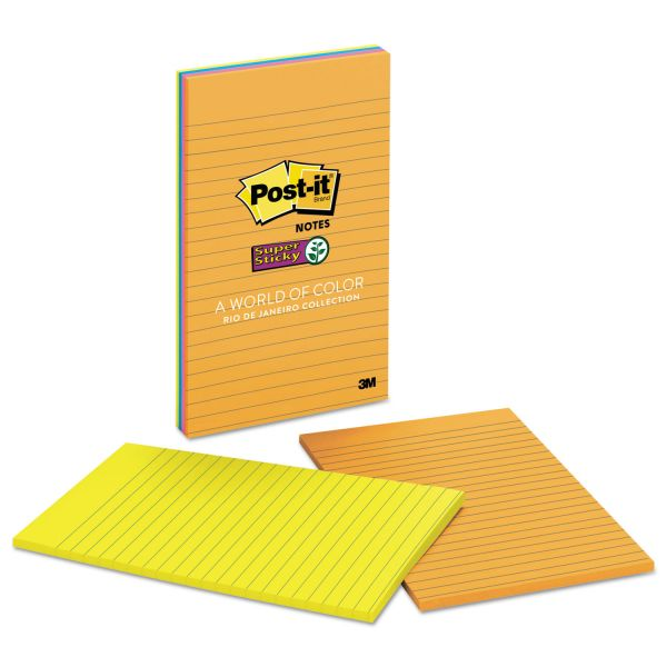 Post-it Notes Super Sticky Pads in Rio de Janeiro Colors, Lined, 5 x 8, 45-Sheet, 4/Pack