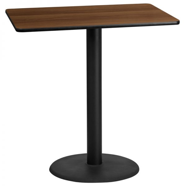 Flash Furniture 30'' x 45'' Rectangular Walnut Laminate Table Top with 24'' Round Bar Height Table Base