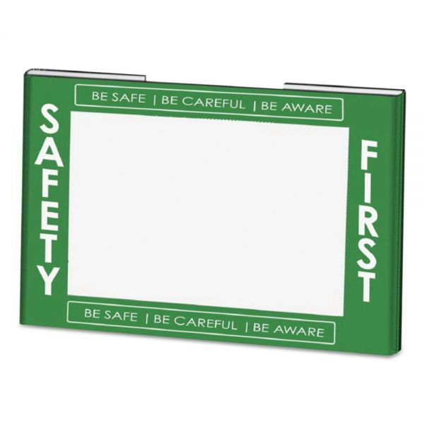 NuDell Clear Plastic Sign Holder w/Safety First Border, Green/White/Clear, 11 x 8 1/2