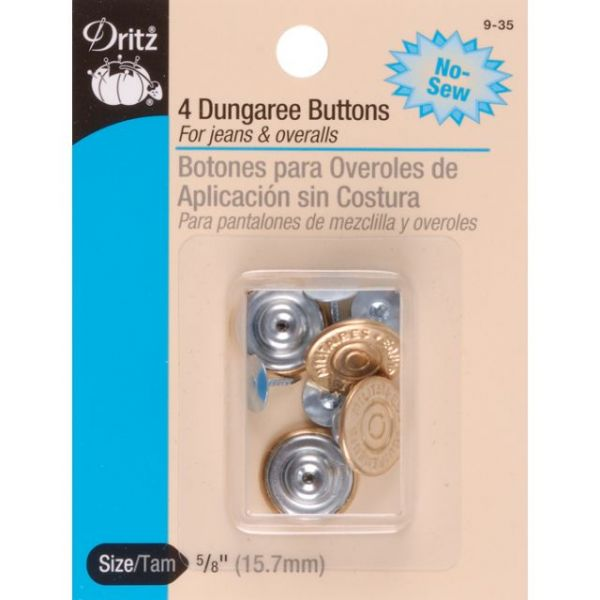 "No-Sew Dungaree Buttons 5/8"" 4/Pkg"