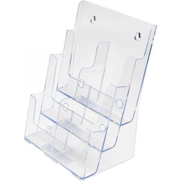 Deflecto Three-Tier Plastic Desktop Leaflet Display Rack, Clear