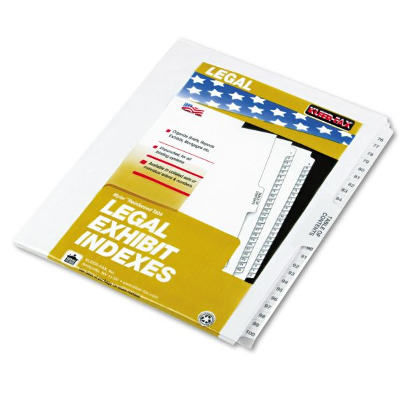 Kleer-Fax 80000 Series Legal Exhibit Index Dividers