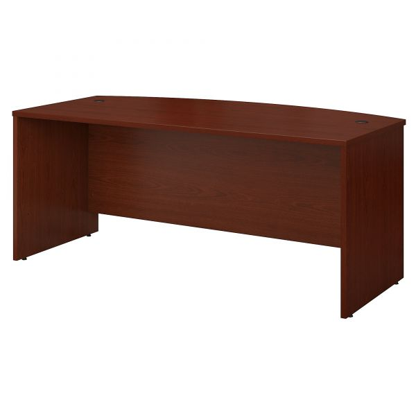 Bush Series C Collection 72W Bow Front Desk Shell, Mahogany