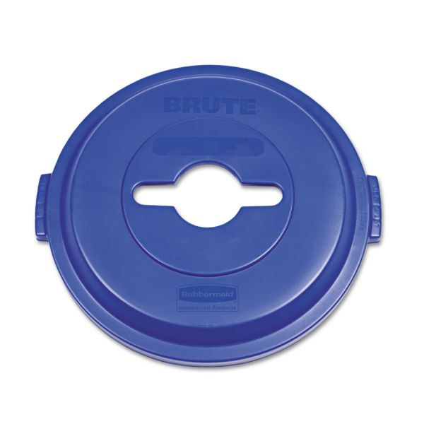Rubbermaid Commercial Single Stream Recycling Top for Brute 32gal Containers, Blue