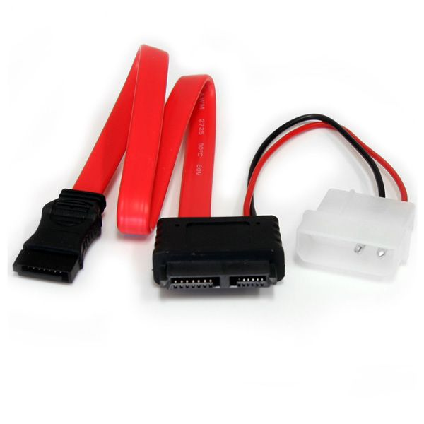 StarTech.com 12in Slimline SATA to SATA with LP4 Power Cable Adapter