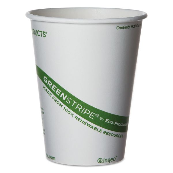 Eco-Products GreenStripe Renewable & Compostable 12 oz Coffee Cups