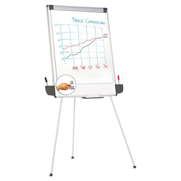 """Universal Tripod-Style Dry Erase Easel, Easel: 44"""" to 78"""", Board: 29"""" x 41"""", White/Silver"""