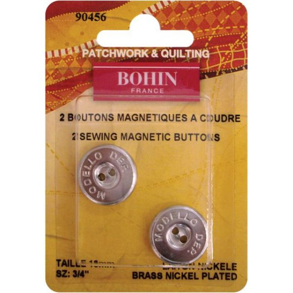 """Magnetic Sew-On Button 3/4"""" 2/Pkg"""