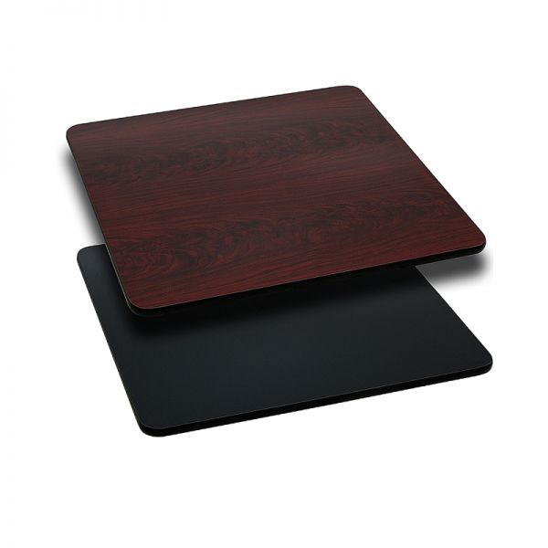 Flash Furniture 30'' Square Table Top with Black or Mahogany Reversible Laminate Top