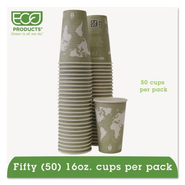 Eco-Products World Art Renewable/Compostable 16 oz Coffee Cups