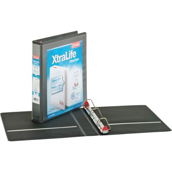"Cardinal XtraLife ClearVue Non-Stick Locking 3-Ring View Binder, 1 1/2"" Capacity, Slant-D Ring, Black"