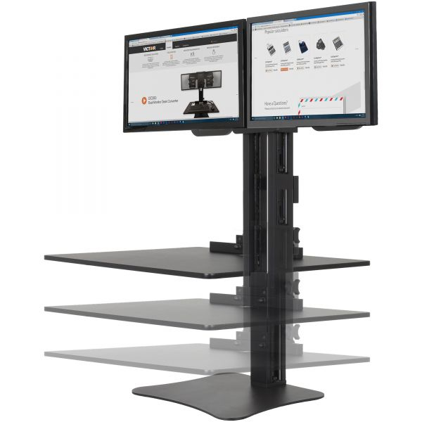 Victor High Rise Dual Monitor Standing Desk Workstation, 28 x 23 x 15 1/2, Black