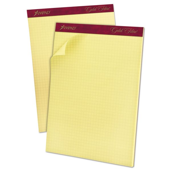 Ampad Gold Fibre Canary Quadrille Pad, 8 1/2 x 11 3/4, Canary, 50 Sheets
