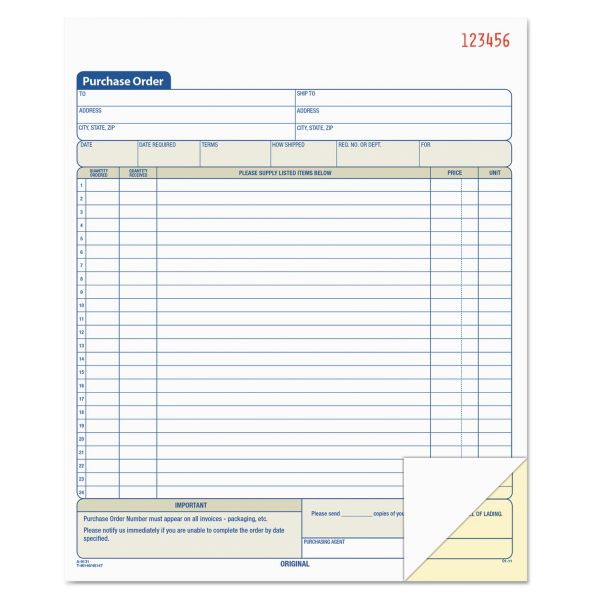 TOPS Purchase Order Book, 8 3/8 x 10 3/16, Two-Part Carbonless, 50 Sets/Book