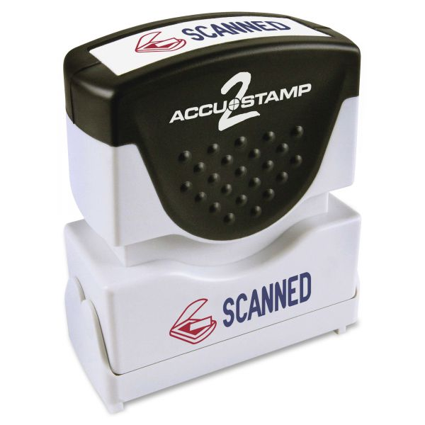 ACCUSTAMP2 Pre-Inked Shutter Stamp with Microban, Red/Blue, SCANNED, 1 5/8 x 1/2