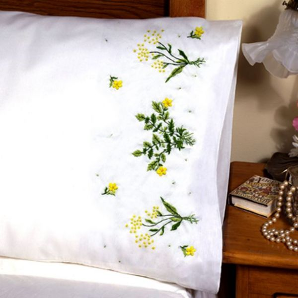 """Stamped Pillowcase Pair For Embroidery 20""""X30"""""""