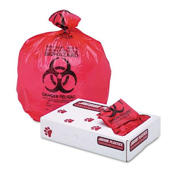 "Jaguar Plastics Health Care ""Bio-hazard"" 15 Gallon Trash Bags"