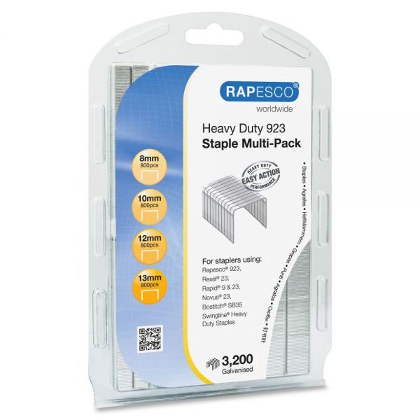 Rapesco 923 Galvanized Staples Multi-Pack