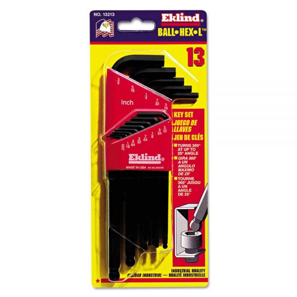 Eklind Ball-Hex-L Key, 13-Piece Set, SAE, Black Oxide