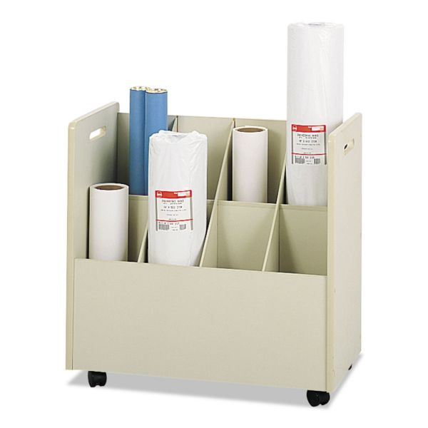 Safco Laminate Mobile Roll Files, Eight Compartments, 30-1/8 x 15-3/4 x 29-1/4, Putty