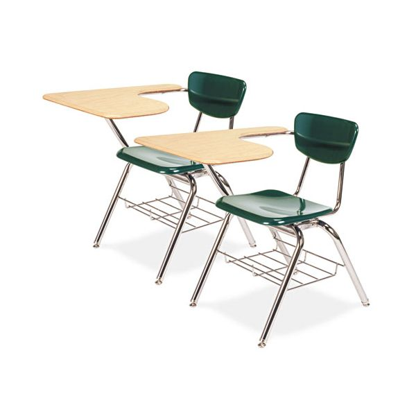Virco 3700 Series Chair Desk, 20w x 31d x 30-1/2h, Fusion Maple/Forest Green, 2/Carton