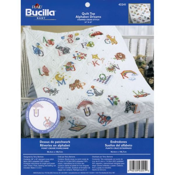 "Stamped Cross Stitch Baby Quilt Top 34""X43"""