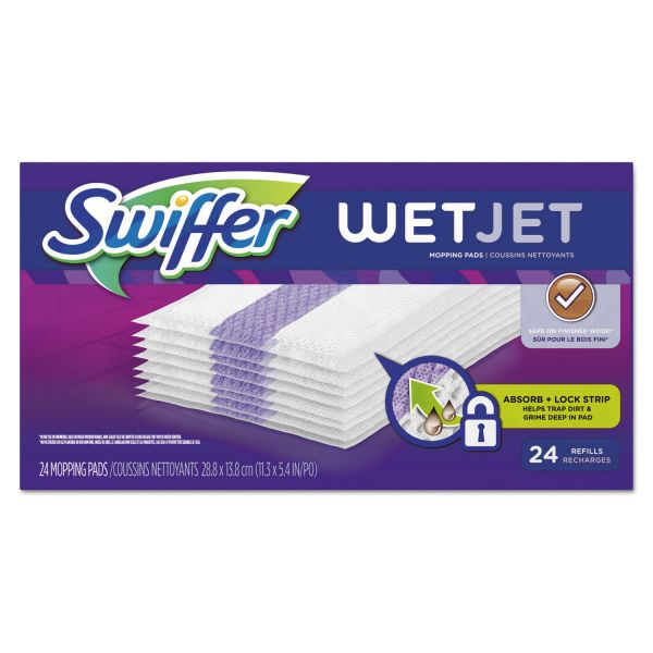 "Swiffer WetJet System Refill Cloths, 11.3"" x 5.4"", White, 24/Box, 4/Ctn"