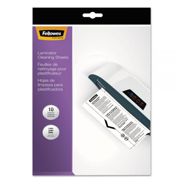 Fellowes Laminator Cleaning Sheets, 3-10mil, 8 1/2 x 11, 10/Pack