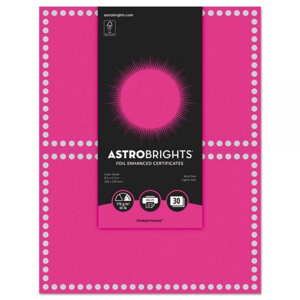Astrobrights Foil Enhanced Certificates, 8.5 x 11, Fireball Fuchsia/Silver Foil,2/Sht,15Sh/Pk