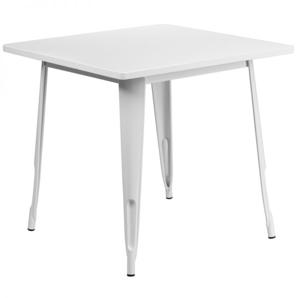 Flash Furniture 31.5'' Square White Metal Indoor-Outdoor Table