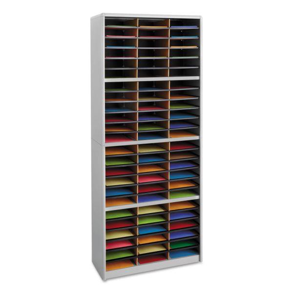 Safco Steel/Fiberboard Literature Sorter, 72 Sections, 32 1/4 x 13 1/2 x 75, Gray