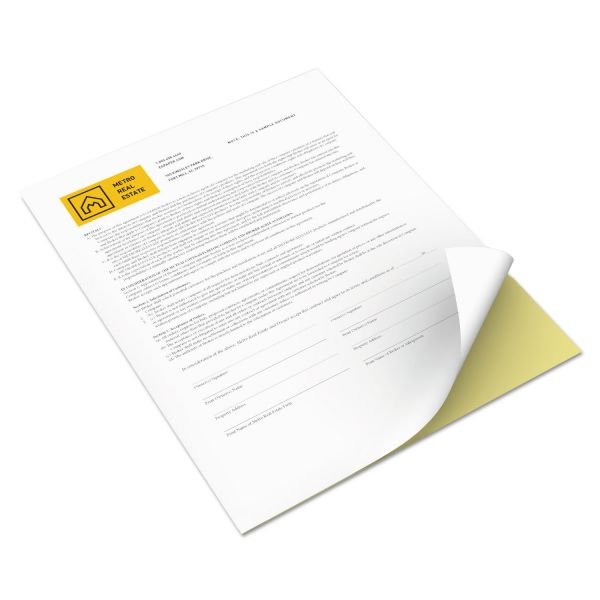 Xerox Revolution Digital Carbonless Paper, 8 1/2 x 11, Straight Collated, 15 lb, White/Canary, 5,000 Sheets/CT