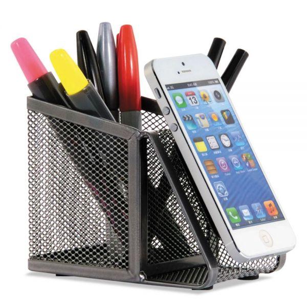 Allsop DeskTek Pen Cup, 3 3/20 x 5 x 3 9/10, Metal, Gray