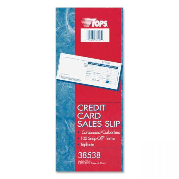TOPS Carbonless Triplicate Credit Card Sales Slips