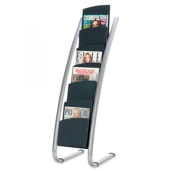 Alba Literature Floor Rack, Six Pocket, 13 1/3 x 19 2/3 x 36 2/3, Silver Gray/Black