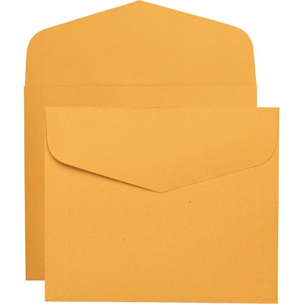 Quality Park Open Side Booklet Envelope, 12 x 10, Brown Kraft, 100/Box