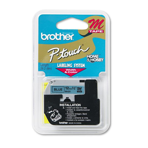"Brother P-Touch M Series Tape Cartridge for P-Touch Labelers, 1/2""w, Black on Blue"