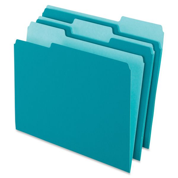 Pendaflex Colored File Folders, 1/3 Cut Top Tab, Letter, Teal/Light Teal, 100/Box