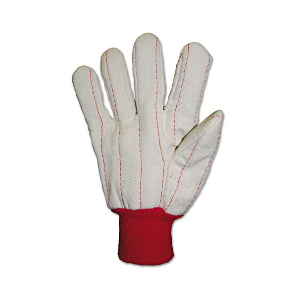 Anchor Brand Heavy Canvas Gloves, White/Red, Large, 12 Pairs