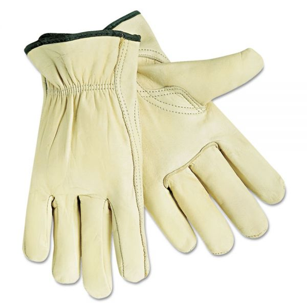 Memphis Economy Leather Drivers Gloves, White, Large, 12 Pairs