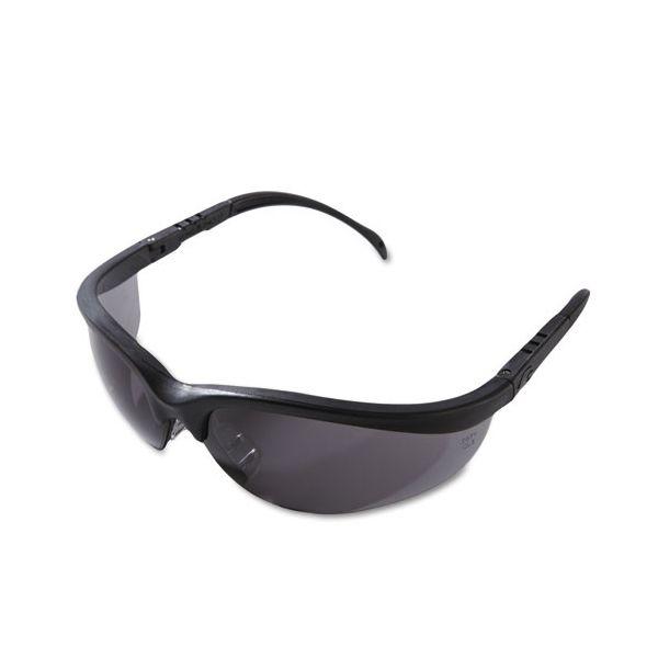 Crews Klondike Safety Glasses, Matte Black Frame, Gray Lens